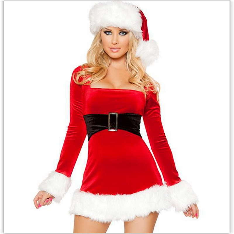 2018 high quality sexy Christmas red velvet long-sleeved dress Xmas uniforms 2-piece set: hat + dress Christmas Party costume
