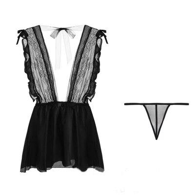 Women Sexy Lingerie Lace Deep V Dress Underwear Chiffon Babydoll Sleepwear Nightgown Sleepshirt Temptation Nightdress Homewear