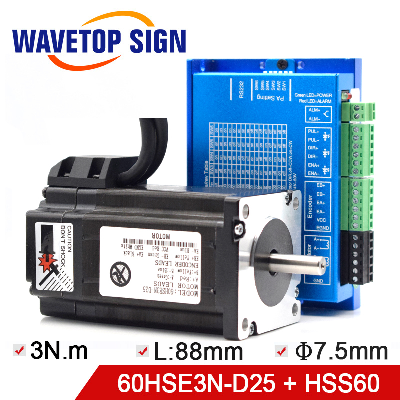 WaveTopSign NEMA 24 Closed Loop Stepper Motor 60HSE3N D25 Driver HSS60 2M Signal cable Torqure 3