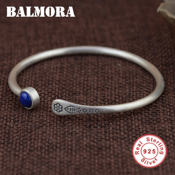 Женские винтажные браслеты из стерлингового серебра 925 пробы с лазуритом BALMORA, подарочные серебряные ювелирные изделия SY50328