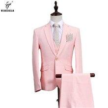 Jackets+Pants+Vest 3 Pieces 2017 Men Linen Suit Slim Fit Wedding Groom Suit for Man One Button Male Business Suits Groom Tuxedo