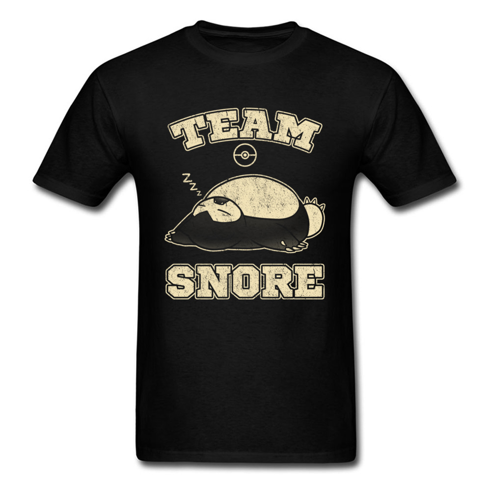Pokemon Sleeping Men T-Shirt Short Tops T-Shirt For Student 90s Cartoon Graphic Team Snore Tshirt Men's Anime Tees Cotton(China)