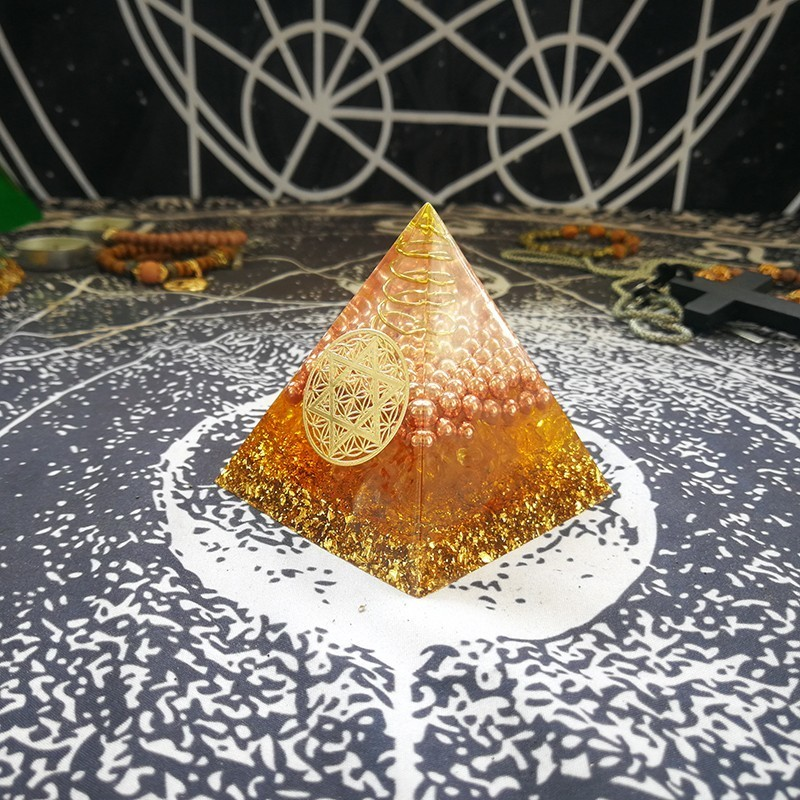 Orgonite Pyramid Furnishing Articles Gabriel Maripura Chakra Increase Willpower Resin Pyramid Smart Jewelry Decoration