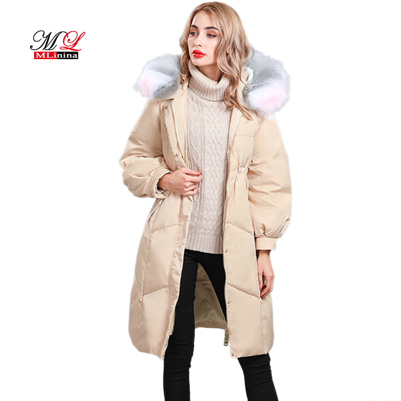 Mlinina Winter Coat Women 2018 High-quality Real Raccoon Fur Hooded Solid Snow White Duck Down Jackets Women Long   Parkas   Female