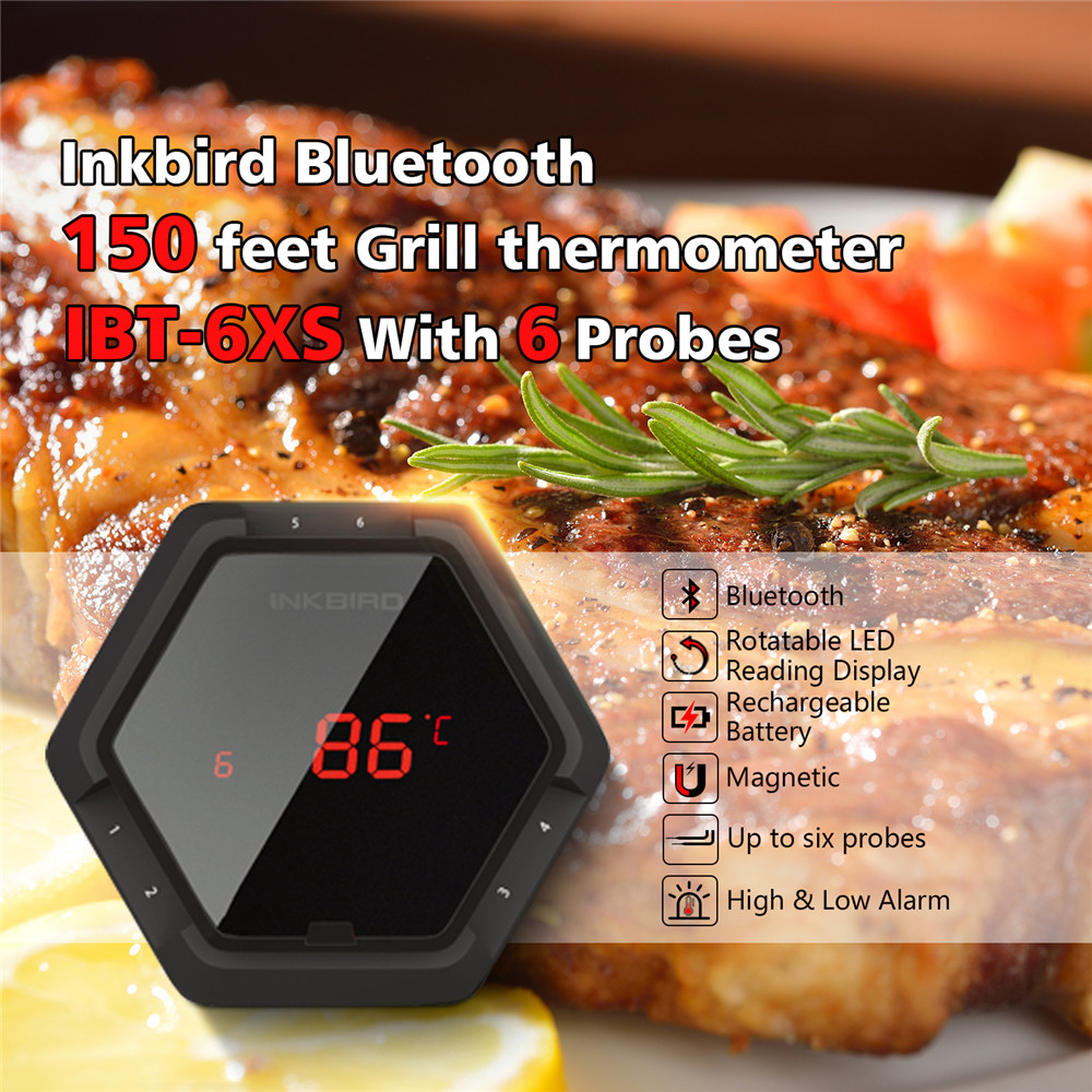 Inkbird IBT 6XS Black Digital Thermometer Bluetooth Wireless BBQ Thermometer Six Probes Free APP and USB Rechargable Battery in Temperature Instruments from Tools