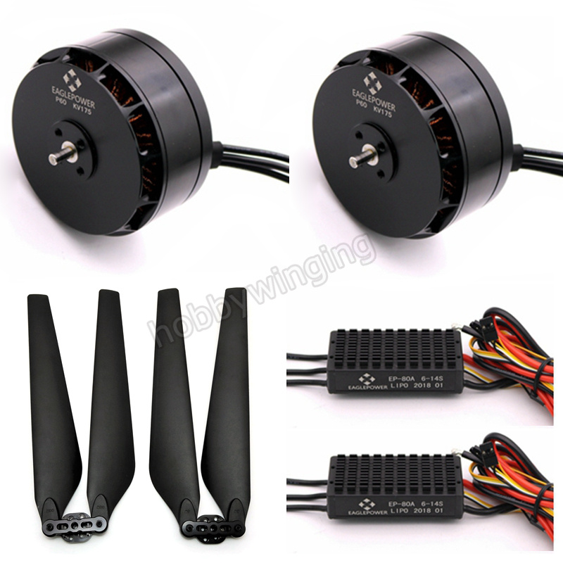 2 Sets Agriculture Drone P60 12S Power Suit P60 KV175 Brushless Motor +UP2280/2380 Folding Paddle Propeller +EP-80A ESC