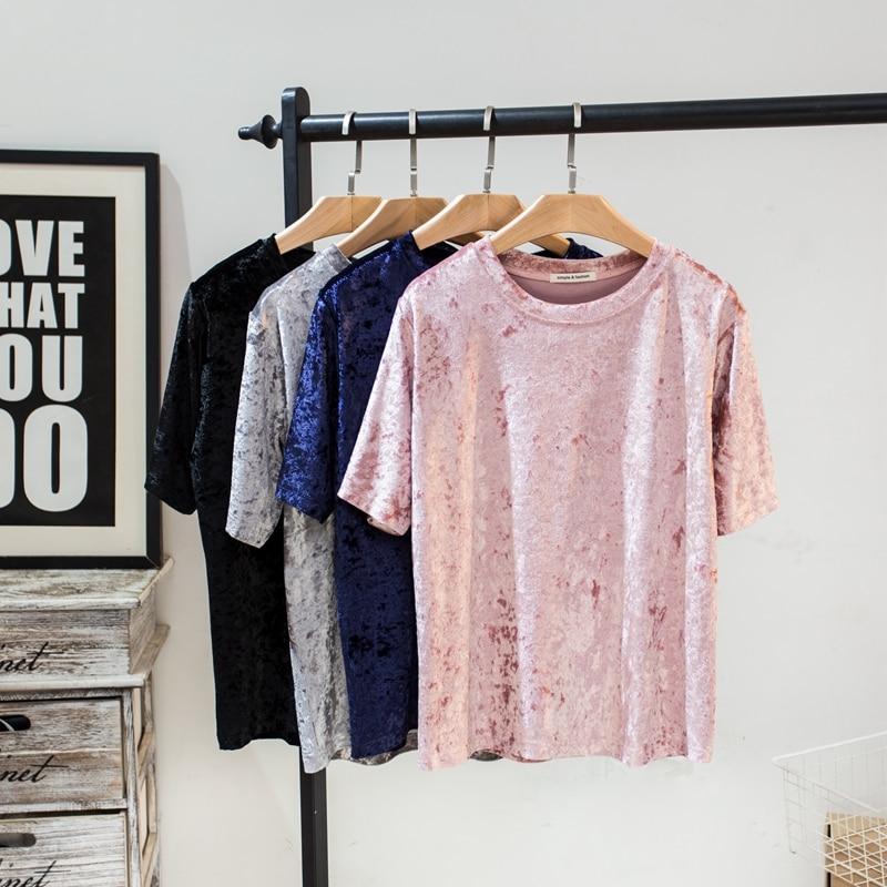 Nova chegada das mulheres de veludo t camisa verão manga curta diamante veludo superior solto camisa femme camisas mujer