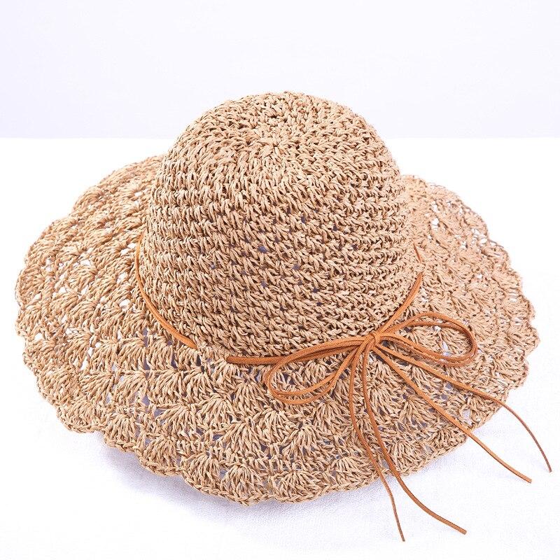 Круглая женская летняя шляпа, ручная Плетеная соломенная шляпа с широкими полями, модные женские шапки от солнца, складная пляжная шляпа в б...