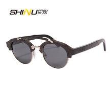 цена SHINU Brand Wood Sunglasses Ebony Wooden Frame Polarized Sun Glasses Male Female Shade Goggle Driving Eyewear Lunette De Sol онлайн в 2017 году