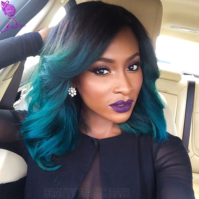 Short Green Wig Ombre Synthetic Lace Front Wig 3 Tone Blue Wig Dark