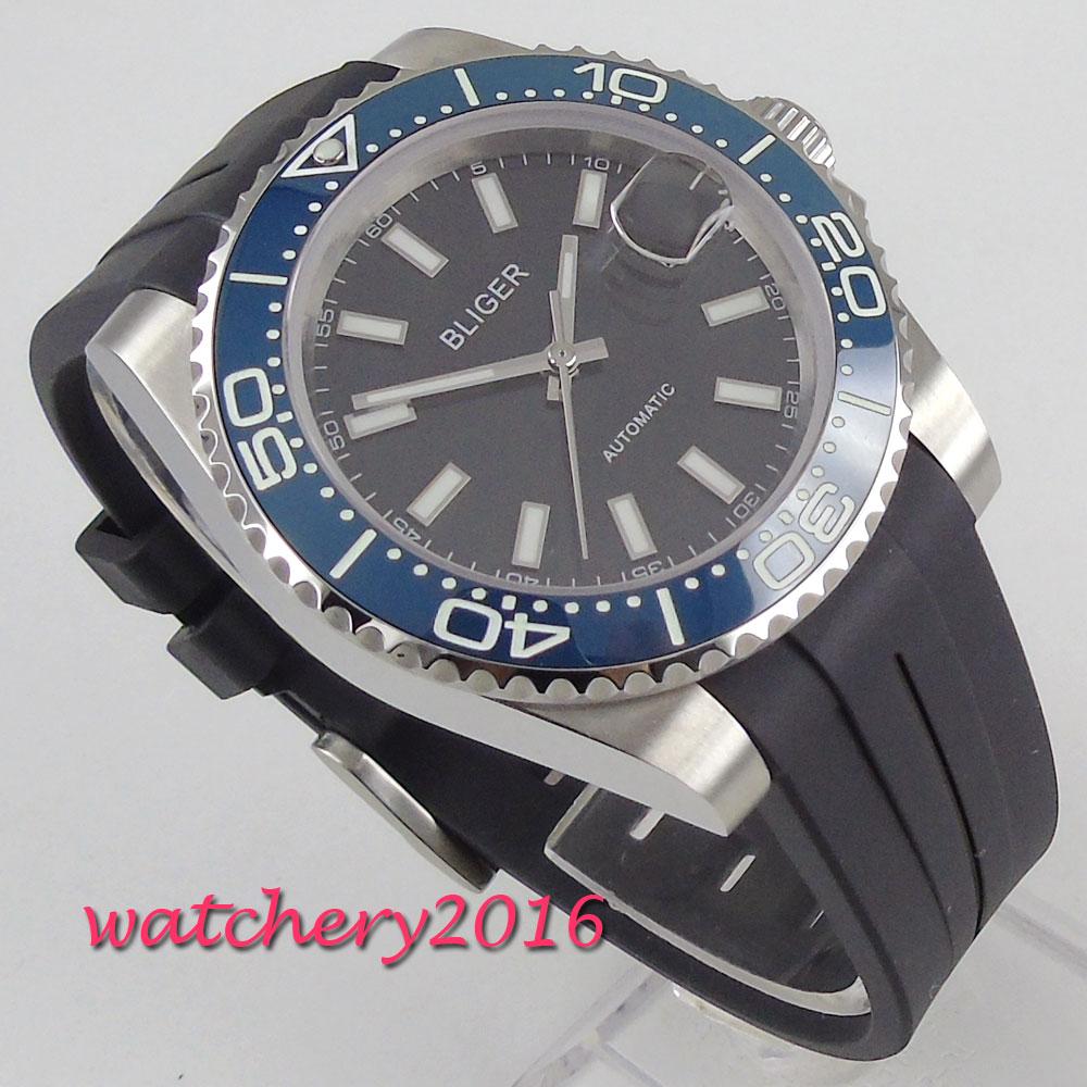 39mm Bliger Black Dial Ceramic Bezel sapphire Glass Date Automatic Movement men s Watch