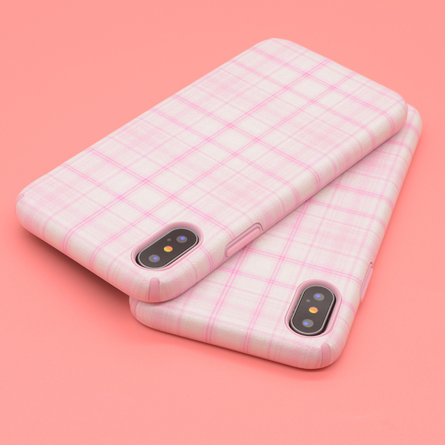 super popular 718ca 507e5 US $3.4 |BROTOLA For iphone X Case Cute Pink Plaid Phone Cases Maiden Grid  Style Soft Silk Print Back Cover For iphoneX Capa Coque-in Fitted Cases ...