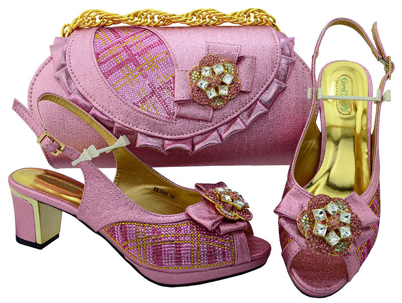 Italian Women's Pink Shoes And Bag Set African PU Leather Rhinestone High Heel Shoes And Bag Set For The Party High heel MM1049 hot artist high quality pu leather shoes and handbag set italian style rhinestone pumps shoes and woman bag set for party yk 185
