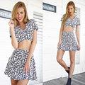 Folga barato verão estilo pastoral mulheres cortar top & skirt duas peças dress define sexy bonito mini saias