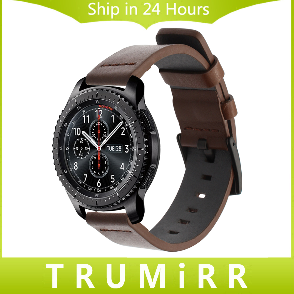 22mm Italy Oily Genuine Leather Watchband for Samsung Gear S3 Classic Frontier Quick Release Watch Band Steel Buckle Wrist Strap 22mm genuine leather watchband tool for samsung gear s3 classic frontier watch band butterfly buckle strap wrist bracelet black