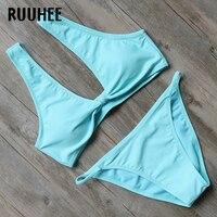 RUUHEE Solid Bikini Swimsuit Women Push Up Swimwear Bathing Suit 2017 Bikini Set Sexy Low Waist