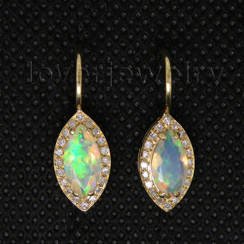 Us 408 0 Natural Opal Earrings 14kt Yellow Gold Clip Diamond 585 Marquise 4 5x9 5mm We007 In From Jewelry