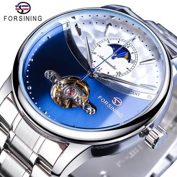 Forsining Blue Moon Phase Automatic Mens Watches Business Watch Casual Steel Strap Waterproof Sport Mechanical Relogio Masculino ailang blue luxury watch men automatic stainless steel watch male moon phase and calendar business mechanical watches a043