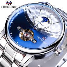 Forsining Blue Moon Phase Automatische Herren Uhren Business Watch Casual Stahl Armband Wasserdicht Sport Mechanische Relogio Masculino