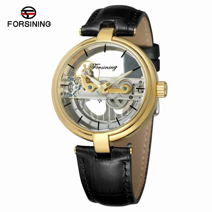 FORSINING Business Men Mechanical Watches Luxury Skeleton Leather Man Watch Automatic Self Wind Wristwatches Montre Homme 203 forsining new mens skeleton self wind watches mechanical pu leather wrist watch gift free ship