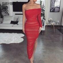 Sibybo Mesh Strapless Split Sexy Dress Women Off Shoulder Pleated Autumn Long Dress Backless Club Party Dress VestidosDresses
