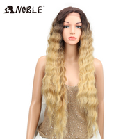 Noble 30Inch Long Hair Platinum Blonde Wig Wavy Middle Deep Part Ombre High Temperature Fiber Synthetic Lace Front Wig For Women