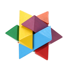 Children Educational Practical Wooden Puzzle Toy Colorful Octagon Luban Lock Kids Adult Wooden Chinese Puzzle Cube