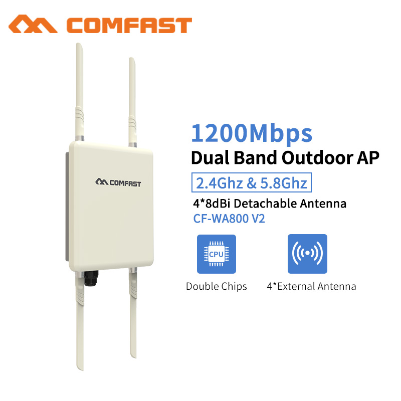 Outdoor Wifi Repeater 1200Mbps Wireless Wi-fi Range Extender Amplifier 5G Waterproof 27dBm 802.11 Ac Wifi Router WISP Base AP