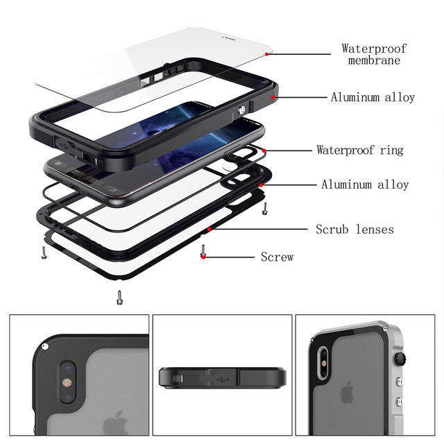 Ascromy For iPhone X Case Shockproof IP68 Waterproof Metal Bumper Cover For Appe iPhone 7 Plus 8 8plus Water Proof Accessories (4)