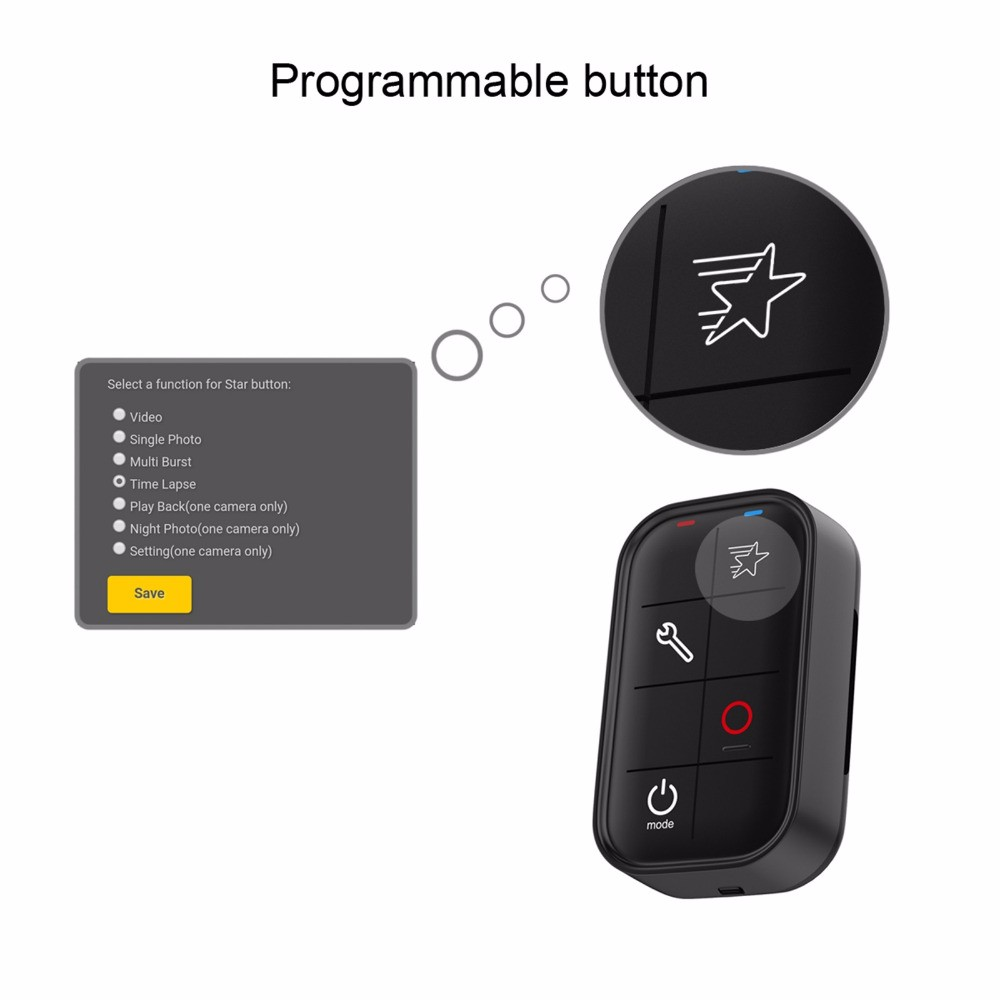 Wireless Wifi Remote Control for GoPro HERO 5 Session 4 3+ (1)