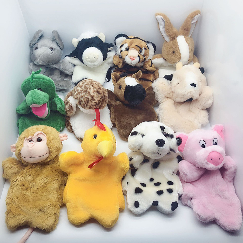 Cartoon 12 Symbolic Animals Hand Puppet  Real Life Plush Dragon Pig Mouse Monkey Dolls Puppets Birthday Toys For Children B18