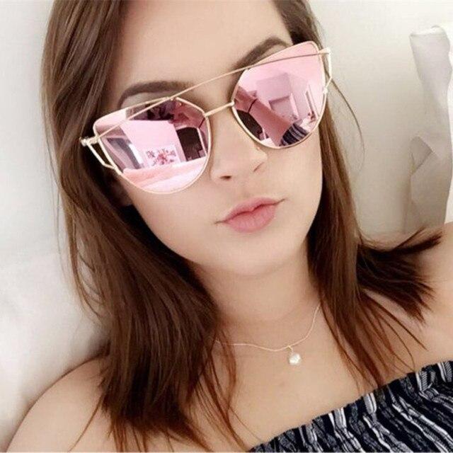 83defdc2ce Vintage Lady Rose Gold Cat Eye Sunglasses Women Brand Design Twin-Beams  Optical Eyeglasses Frame Men Sun Glasses For Female 195T