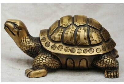 Cuivre laiton chinois artisanat décoration chanson asiatique voge gem S2448 9 chine chinois Bronze Folk Dragon tortue tortue Statue Feng