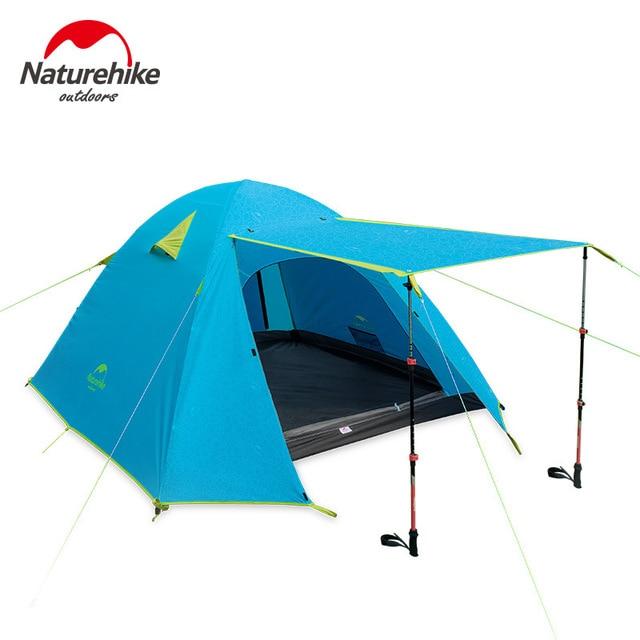 NatureHike 3-4 osoby namiot nowy przybył 3 sezon 210*160*115 cm podwójne warstwy odkryty Camping wycieczka podróży zagraj namiot aluminium słup