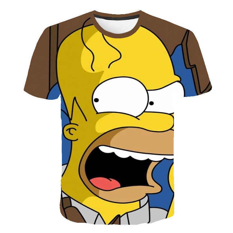 Горячая Распродажа 2019 Мужская футболка Веселая Гомер Симпсон и его сын 3D Печатные шорты Футболка с рукавами модные повседневные топы футболки
