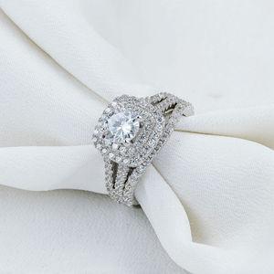 Image 5 - Newshe 2 Pcs מוצק 925 כסף סטרלינג נשים של חתונה טבעת סטים ויקטוריאני סגנון כחול צד אבנים קלאסי תכשיטי עבור נשים