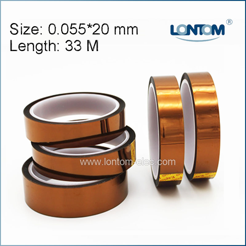5 rolls 20mm width 33M Kapton Tape High Temperature Heat Resistant Polyimide 55mm x 33m 100ft kapton tape high temperature heat resistant polyimide fast ship