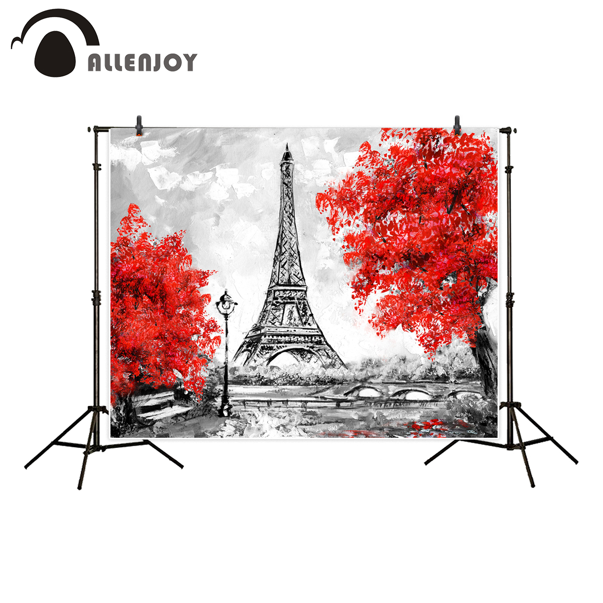 Allenjoy photography backdrop Red tree black white scenery Paris Tower romantic oil painting style background fotografica kate 10ft european oil painting scenery