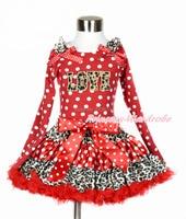 WEIHNACHTEN Leopard Valentine LOVE Rot Weiß Punkte Tank Top Leopard Minnie Mädchen Rock Set 1-8Year MAPSA0206