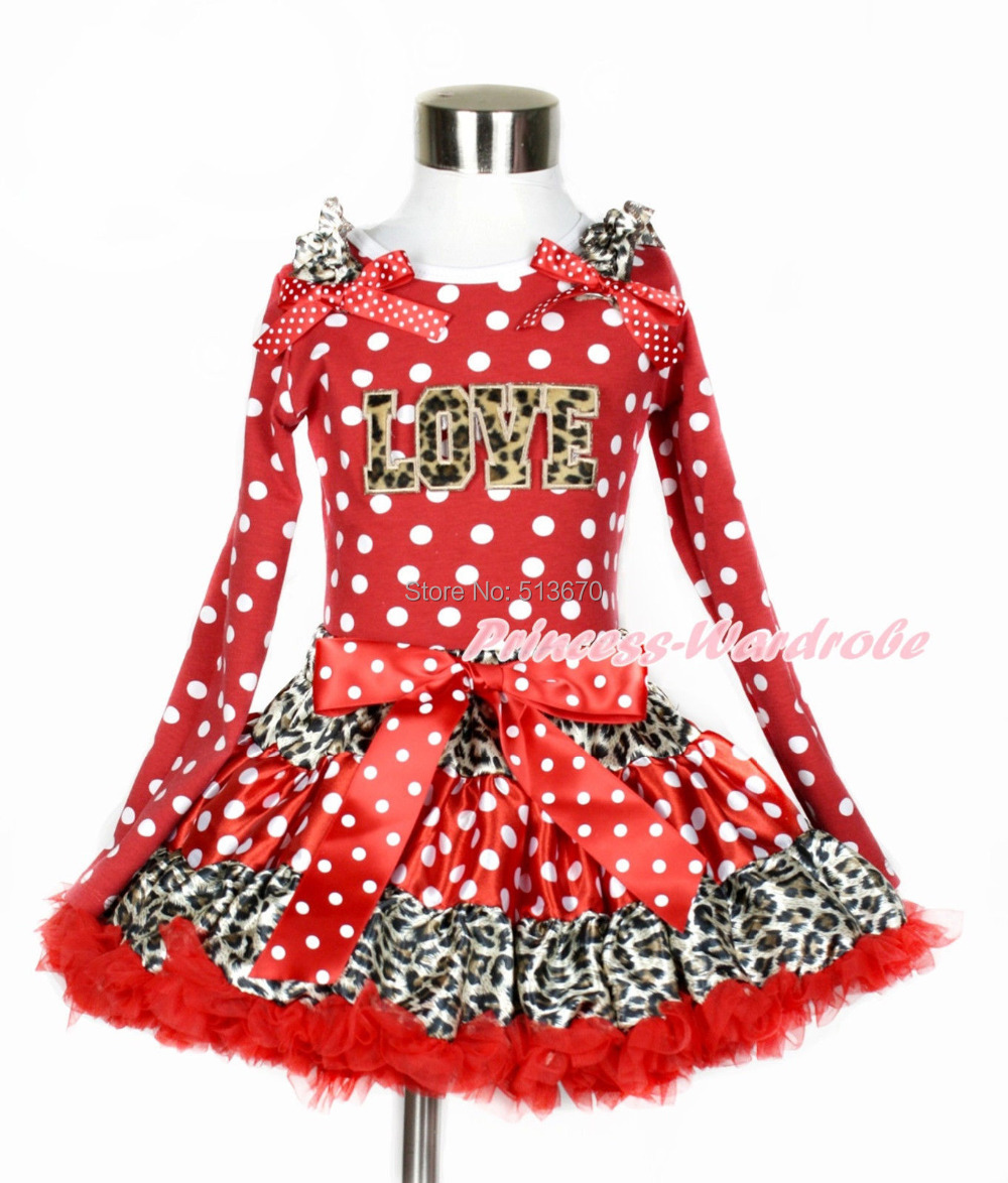 XMAS Leopard Valentine LOVE Red White Dots Tank Top Leopard Minnie Girl Skirt Set 1-8Year MAPSA0206 xmas leopard minnie dots red pettiskirt with christmas minnie print white long sleeve top with minnie dots lacing mamw413