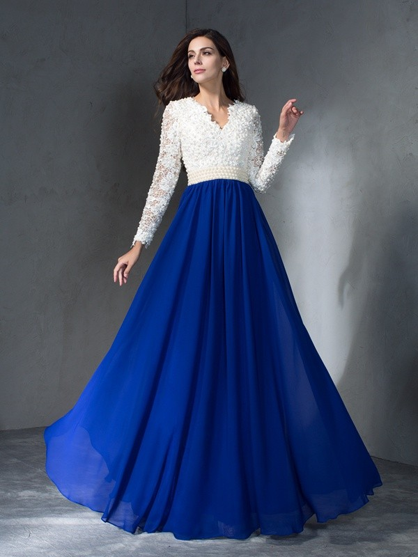 8b59b9fd5a Aliexpress.com   Buy 2019 Royal Blue White Lace Chiffon Modest Prom Dresses  With Long Sleeves Pearls Real Evening Party Gowns vestido de festa from  Reliable ...