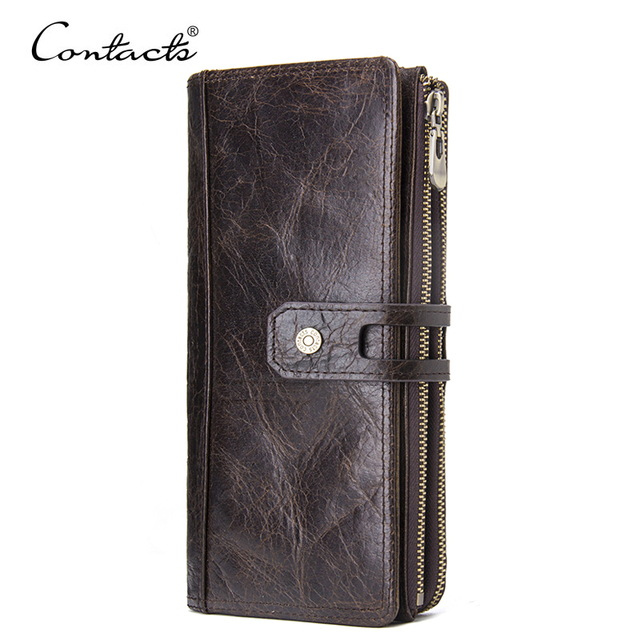 CONTACT'S Genuine Leather Men Purse Long Wallets With Cell Phone Pocket Women Fashion Clutch Wallet Coin Purses Female Walet