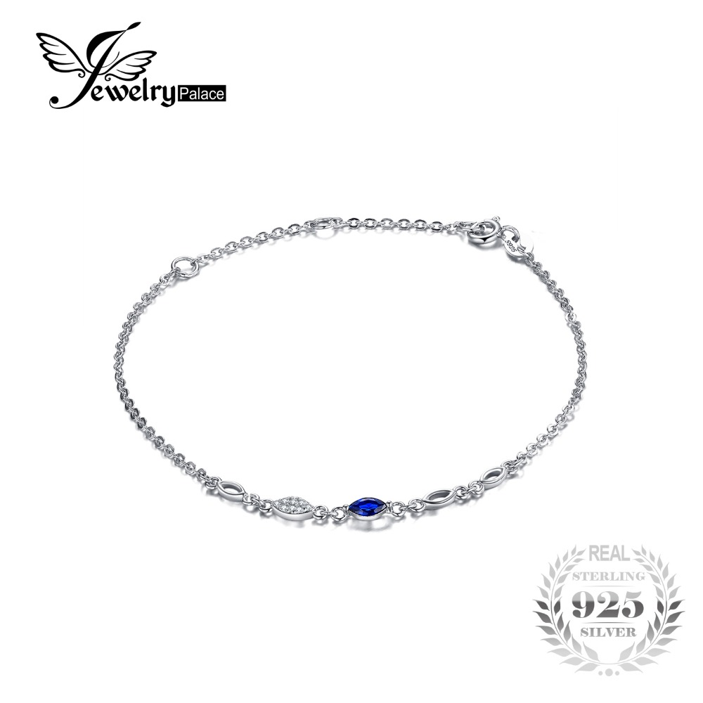 JewelryPalace Exquisite Marquise Created Blue Spinel Bracelet 100% 925 Sterling Silver Charms Women Trendy Fine Jewelry jewelrypalace 100