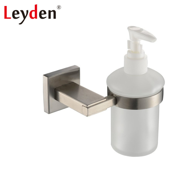 Leyden Sus304 Stainless Steel Brushed Nickel Soap Dispenser Holder Wall Mounted Square Style Bathroom