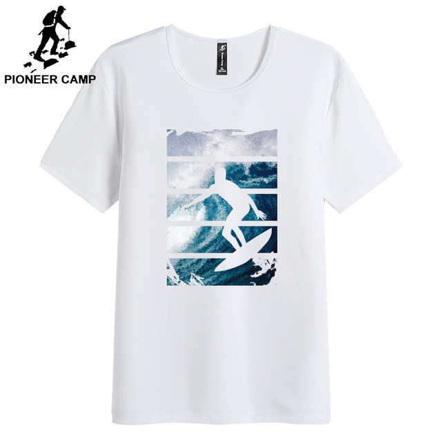 Pioneer Camp 2019 new 100% cotton saturday night live leaves pattern casual men t-shirt O-neck standard size DES901100