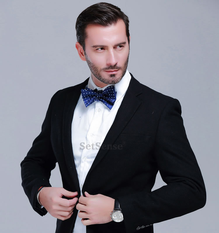 Check Polka Dot Stripe 100%Silk Bow Tie, Jacquard Woven ...