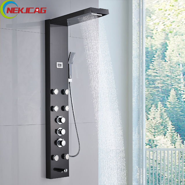 Painting Black Thermostatic Rain Waterfall Shower Panel Massage System With  6 Pcs Jets LED Temperature Display