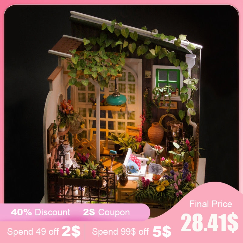 Robud DIY Miniature House Miller s Garden Wooden Doll House with Furniture poppenhuis Toys for Children