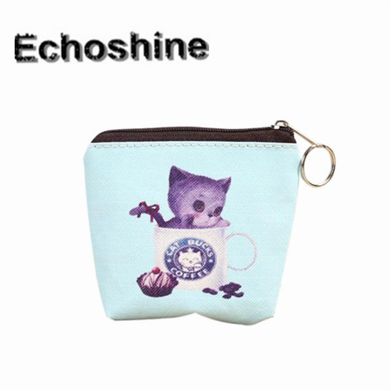 Portable Women Coin Bag Cute Cat Printed Girl PU Leather Zip Coin Purse Key Card Bag Wallet Wholesale A1000