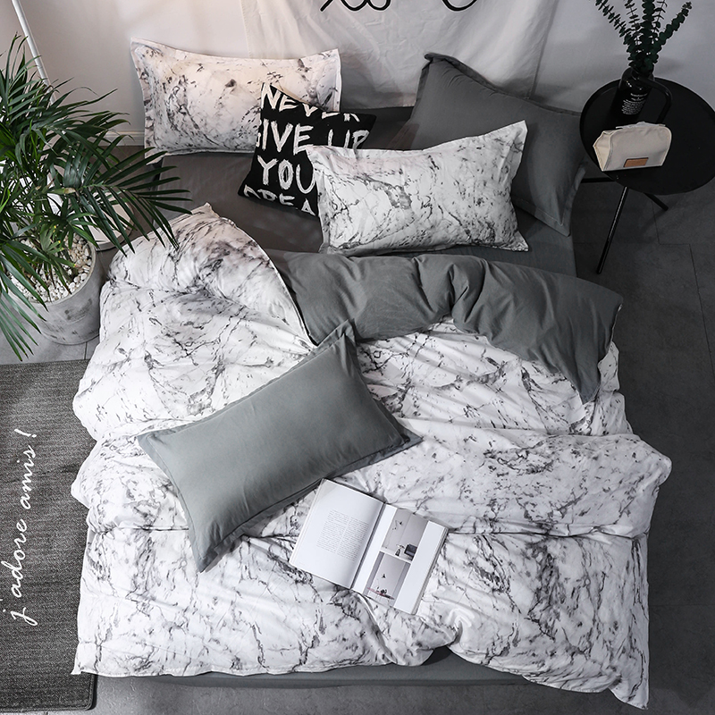 Luxury Bedding Set Duvet Cover Sets 3pcs Marble Super King Size Single Swallow Queen Black Comforter Bed Linens Cotton 200x200